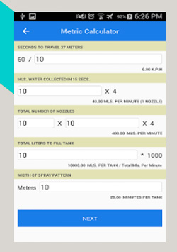 android application spraycaliberationcalculator